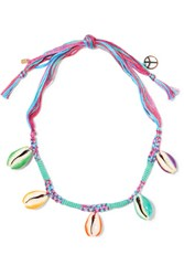 Aurelie Bidermann Takayama Braided Cord And Shell Necklace Blue