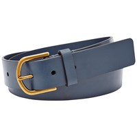 Fossil Modern Covered Buckle Leather Belt Navy