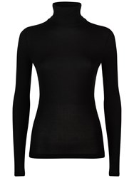 Jaeger Jersey Ribbed Roll Neck Top Black