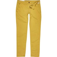 River Island Mens Yellow Franklin And Marshall Skinny Trousers