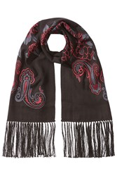 Etro Embroidered Cashmere Scarf With Silk Black
