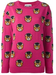Moschino Teddy Jacquard Jumper Pink And Purple