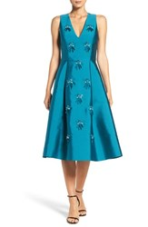 Sachin Babi Women's And Noir 'Claudette' Embellished Jacquard Fit And Flare Dress