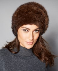 The Fur Vault Knitted Mink Beret Brown