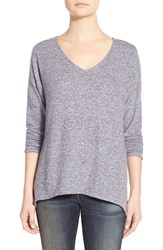Women's Gibson 'Yummy Fleece' High Low V Neck Pullover Purple Puff Ivory