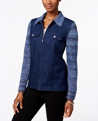 Alfred Dunner Sierra Madre Collection Mixed Media Denim Jacket
