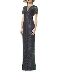 Theia Iridescent Lace Column Gown Grape