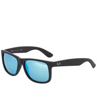 Ray Ban Ray Ban Justin Sunglasses Black Rubber And Green Mirror