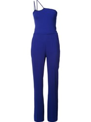 David Koma One Shoulder Jumpsuit Blue