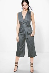 Boohoo Pinstripe D Ring Belted Culotte Jumpsuit Grey