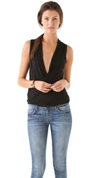 Lanston Surplice Pullover Top Black
