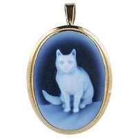 Del Gatto Cat Agate Cameo Pendant Blue