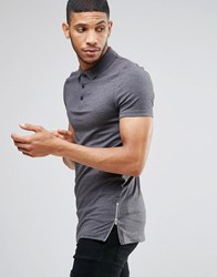 Asos Longline Muscle Polo Shirt With Zip Detail In Charcoal Charcoal Grey