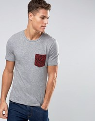 Jack And Jones T Shirt With Leopard Print Pocket Grey