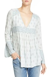 Free People Women's 'Rolling Hills' Print Bell Sleeve Tunic Green Combo