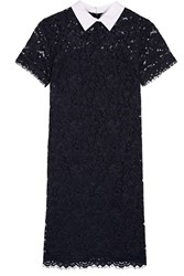 Michael Michael Kors Stretch Cotton Poplin Trimmed Corded Lace Dress Navy