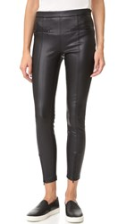 David Lerner Vegan Leather Front Zip Leggings Classic Black