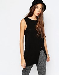Pull And Bear Split Detail Long Line Jersey Top Black