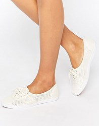 Fred Perry Aubrey Mesh Off White Plimsoll Trainers White