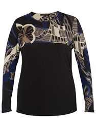 Chesca Printed Yoke Jersey Top Black Blue