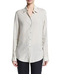 The Row Peter Striped Silk Blouse White Pattern