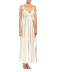 Jonquil Caroline Lace Trimmed Satin Gown Ivory Size S