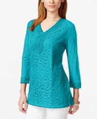 Jm Collection Three Quarter Sleeve Lace Front Tunic Only At Macy's Turquoise Pool