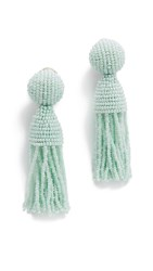 Oscar De La Renta Short Beaded Tassel Clip On Earrings Soft Mint