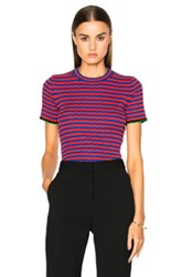 Proenza Schouler Silk Cashmere Irregular Stripe Cropped In Blue Red Stripes Blue Red Stripes