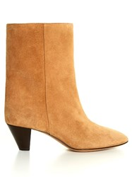 Isabel Marant Etoile Dyna Cone Heel Suede Ankle Boots Light Tan