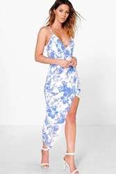 Boohoo Floral Wrap Tie Back Maxi Dress Multi