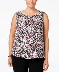 Nine West Plus Size Printed Pleat Neck Shell Red Green Multi