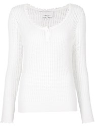3.1 Phillip Lim Open Knit Henley Top White