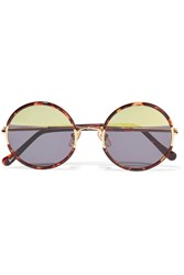 Sunday Somewhere Yetti Round Frame Acetate And Gold Tone Mirrored Sunglasses Tortoiseshell