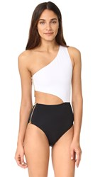 Oye Swimwear Kim One Shoulder Cutout One Piece White Black