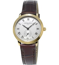 Frederique Constant Fc 235M1s5 Yellow Gold Plated And Leather Watch White