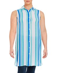 Vince Camuto Plus Striped Button Front Tunic Blue