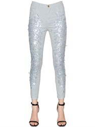 Amen Skinny Sequined Cotton Denim Jeans