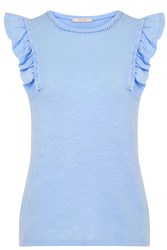 Oasis Ruffle Slub Shell Light Blue