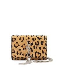 Saint Laurent Monogram Small Leopard Print Calf Hair Crossbody Bag Beige Black Size S