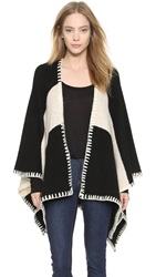 Alice Olivia Kamala Oversized Poncho Black Cream