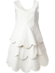 Comme Des Garcons Vintage Layered Scalloped Dress White