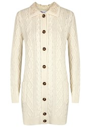 Red Valentino Cream Cable Knit Wool Blend Cardigan