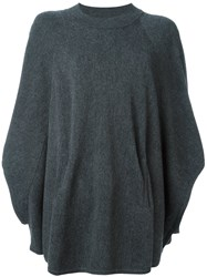 Twin Set Poncho Sleeves Oversized Jumper Grey