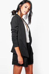 Boohoo Waterfall Blazer With Ruched Sleeve Black