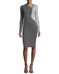 Roland Mouret Nassau Long Sleeve Fitted Dress Black White