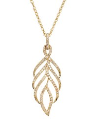 Lord And Taylor 14Kt Yellow Gold Diamond Leaf Pendant Necklace