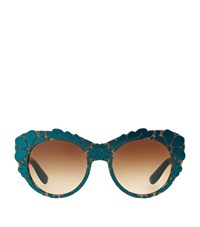 Dolce And Gabbana Round Baroque Sunglasses Female Green