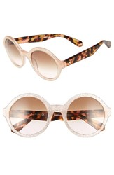 Kate Spade Women's New York 'Khriss' 52Mm Round Sunglasses Pink Gold Glitter Pink Gold Glitter