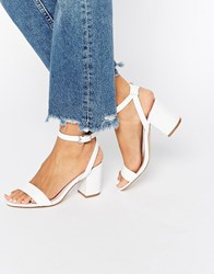 Faith Drake White Barely There Mid Heel Sandals White